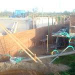 Nov 2014: Het waterwerk wordt erin gemetseld
